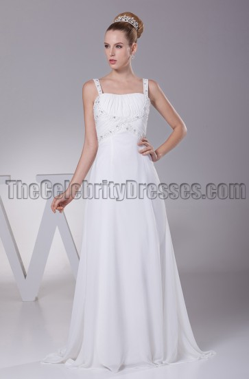 Discount A-Line Chiffon Sweep / Brush Train Wedding Dresses