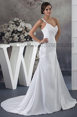 Discount A-Line One Shoulder Chapel Train Wedding Dresses
