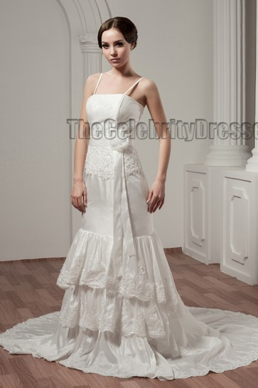Discount Chapel Train Spaghetti Straps Taffeta Wedding Dress