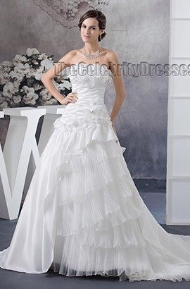 Discount Chapel Train Strapless A-Line Wedding Dresses