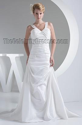 Discount Chapel Train V-Neck Taffeta Wedding Dresses