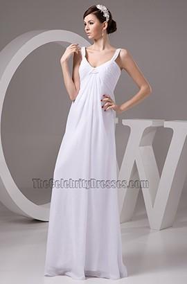 Discount Floor Length A-Line Chiffon Wedding Dress Bridal Gown