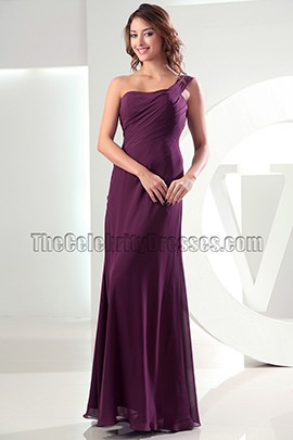 Discount Grape One Shoulder Chiffon Prom Dress Evening Dresses