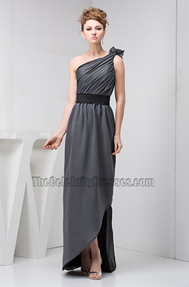 Discount Gray One Shoulder Bridesmaid Prom Dresses