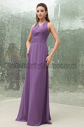 Discount Purple Floor Length Bridesmaid Prom Dresses