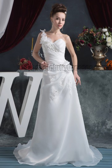 Discount One Shoulder A-Line Sweep/Brush Train Wedding Dresses