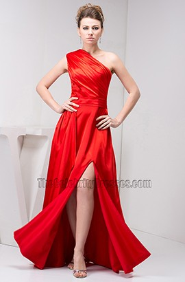 Discount Red One Shoulder Prom Gown Evening Formal Dresses