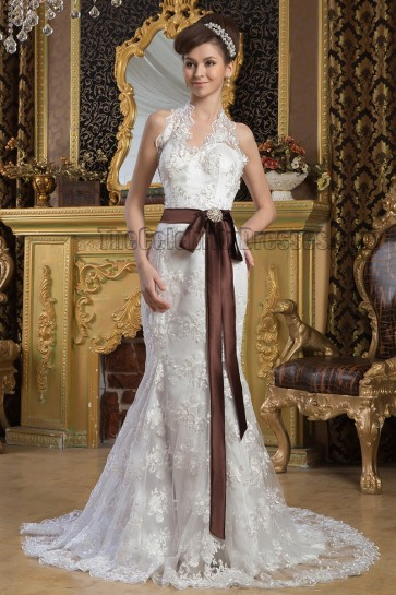 Discount Sheath/Column Halter Lace Wedding Dresses