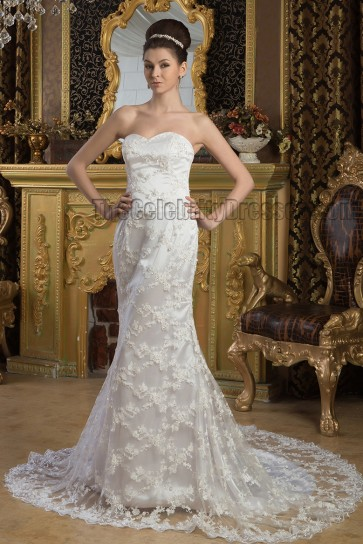 Discount Sheath/Column Sweetheart Strapless Wedding Dresses