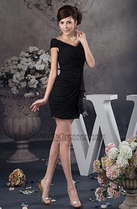 Discount Short Mini Black V-Neck Party Homecoming Dresses