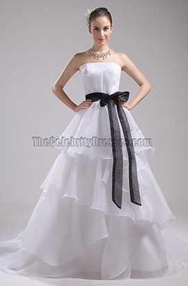 Discount Strapless A-Line Organza Wedding Dresses