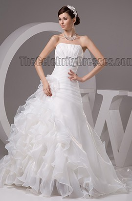 Discount Strapless A-Line Organza Ruffles Wedding Dresses