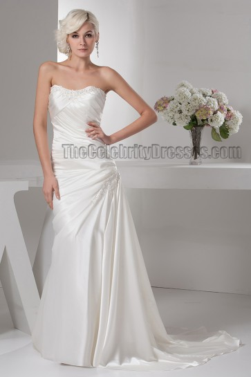 Discount Strapless Beaded Silk Like Satin Wedding Dress