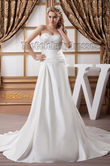 Discount Strapless Beaded Sweetheart A-Line Chapel Train Wedding Dress