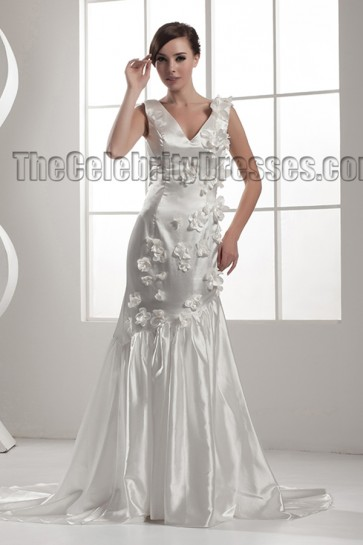 Discount Trumpet/Mermaid V-Neck Chapel Train Wedding Dresses