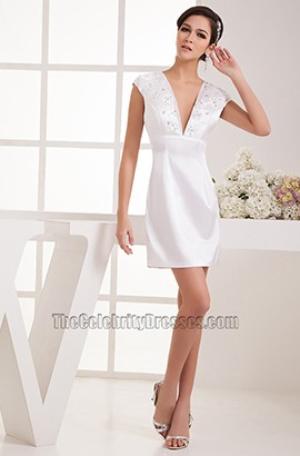 Discount White Short V-Neck Party Homecoming Dresses