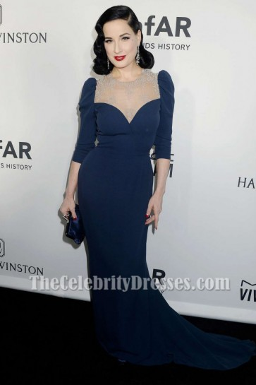 Dita Von Teese Navy Formal Evening Dress 2016 amfAR Inspiration Gala TCD7085