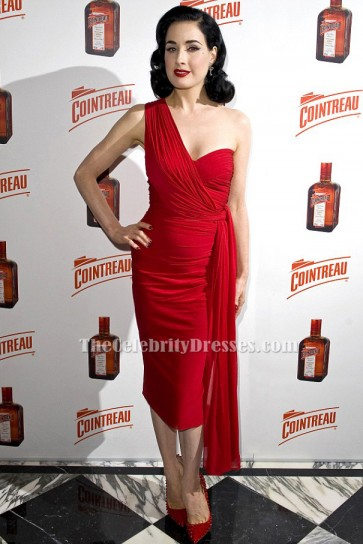 Dita Von Teese Red One Shoulder Cocktail Party Dress TCD6556