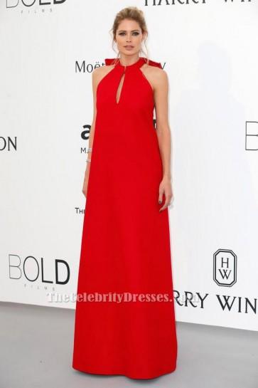 Doutzen Kroes Red Backless Evening Dress 2015 amfAR Cinema Against AIDS Gala TCD6205