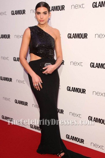 Dua Lipa Black Cut Out Evening Gown 2017 Glamour Women Of The Year Awards TCD7271