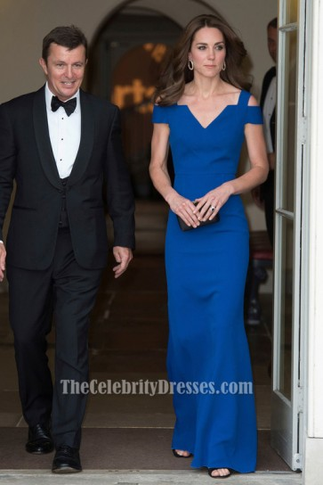 Duchess of Cambridge Royal Blue Formal Dress SportsAid's 40th anniversary dinner TCD6681