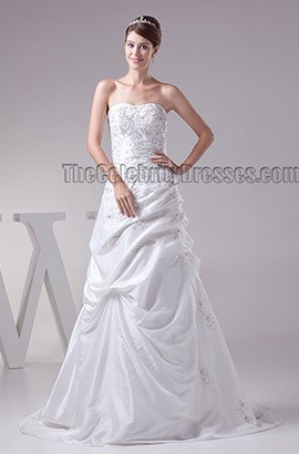 Elegant Strapless Beaded A-Line Lace Up Wedding Dress