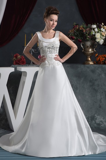 Elegant A-Line Embroidered Sweep Brush Train Wedding Dresses