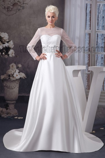 Elegant A-Line Long Sleeve Chapel Train Wedding Dresses