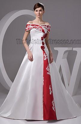 Elegant A-Line Off-the-Shoulder Lace Up Embrodered Wedding Dress