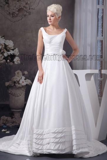 Elegant A-Line Square Neckline Chapel Train Wedding Dress