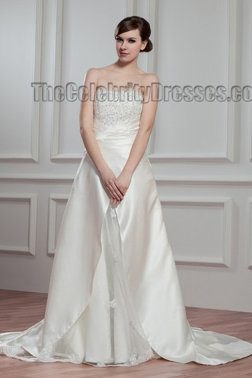Elegant A-Line Strapless Chapel Train Wedding Dresses