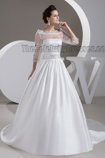 Elegant Beaded Off-the-Shoulder A-Line Chapel Train Wedding Dress