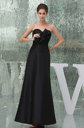 Elegant Black Floor Length Strapless Prom Gown Evening Formal Dresses