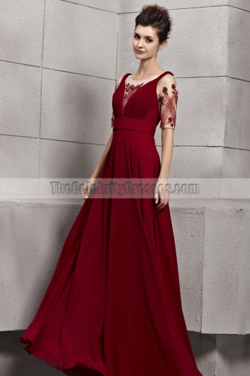Elegant Burgundy A-Line Formal Dress Evening Prom Gown