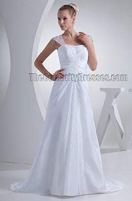 Elegant Cap Sleeve Beaded Taffeta Chapel Train Wedding Dress