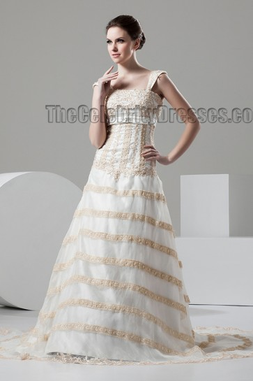 Elegant Cap Sleeves Beaded A-Line Chapel Train Wedding Dresses
