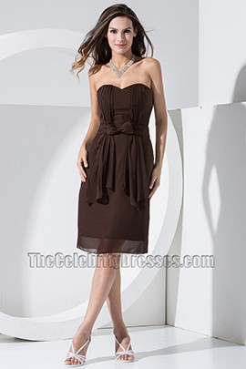 Elegant Chocolate Chiffon Knee Length Cocktail Dress Bridesmaid Dresses