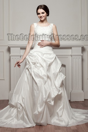 Elegant Embroidered A-Line Taffeta Chapel Train Wedding Dresses
