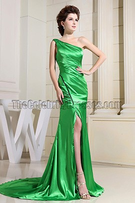 Elegant Green One Shoulder Formal Dress Evening Prom Gown