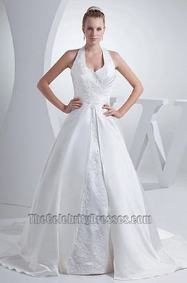 Elegant Halter A-Line Chapel Train Embroidery Wedding Dresses