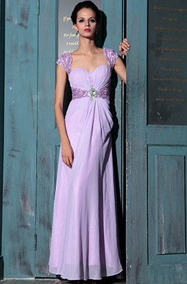 Elegant Lilac Cap Sleeves Prom Gown Bridesmaid Evening Dresses