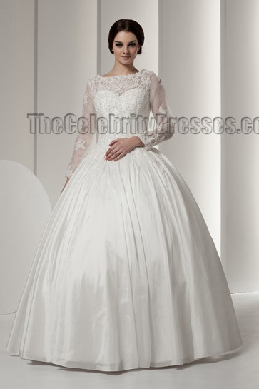Elegant Long Sleeve Ball Gown Floor Length Wedding Dresses