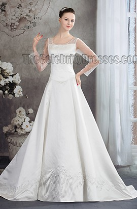 Elegant Long Sleeve Satin Chapel Trin Wedding Dress