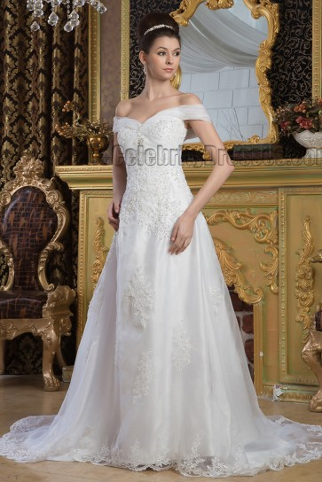Elegant Off-the-Shoulder A-Line Beaded Bridal Gown Wedding Dresses