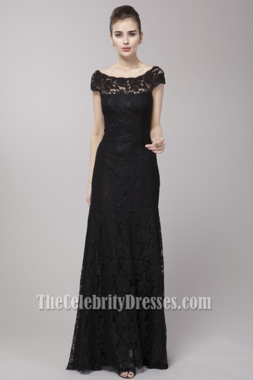 Elegant Off-the-Shoulder Black Formal Dress Evening Gown