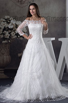Elegant Off-the-Shoulder Lace Beaded Chapel Train Wedding Dress