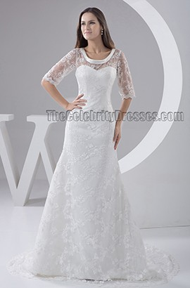 Elegant Sheath/Column Lace Sweep Brush Train Wedding Dress
