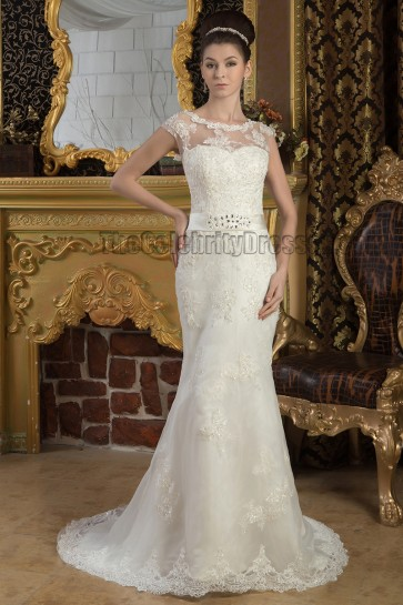 Elegant Sheath Column Lace Sweep/Brush Train Wedding Dress