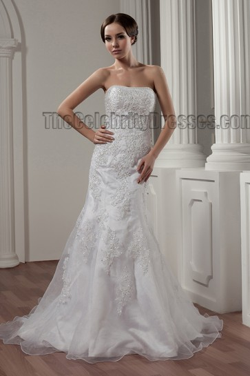Elegant/Sheath Column Strapless Embroidered Wedding Dresses