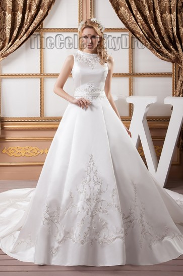 Elegant Sleeveless A-Line Embroidered Chapel Train Wedding Dresses